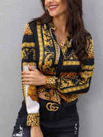 Female Leopard Print Knot Front Long Sleeve Blouse