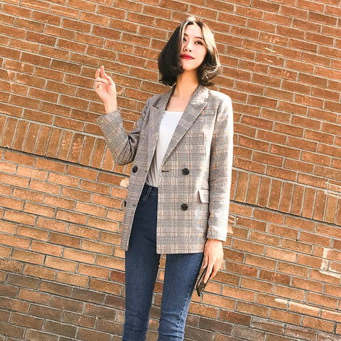 Double Breasted Plaid Women Blazer Pockets Jackets - buydressonline