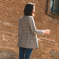 Double Breasted Plaid Women Blazer Pockets Jackets