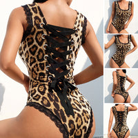 Women Sexy Lace Leopard Bodycon Bodysuit