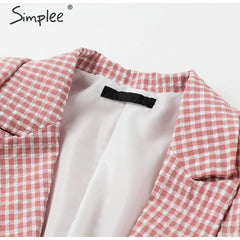 Simplee pink plaid women blazer - buydressonline