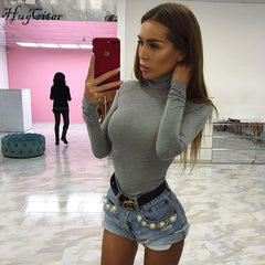 Cotton long sleeve high neck skinny warm bodysuit - buydressonline