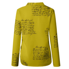 Women Letters Printing Blouses Fashion Ladies Chic V Neck Button Long Sleeve Shirt