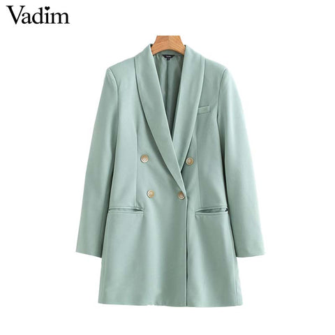 Vadim women chic long blazer double breasted pockets