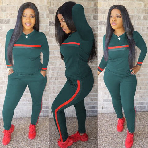 Buy Stripe Tracksuits 2 Set Piece Set Woman Tops Sweatshirt
