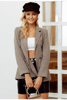 Double breasted plaid blazer Female long sleeve office ladies blazer