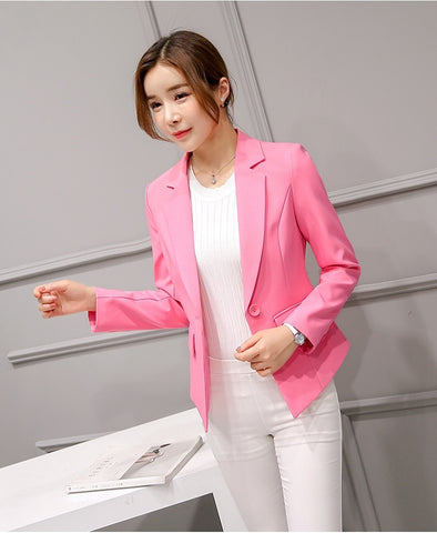 Women Blazer Pink Long Sleeve Blazers - buydressonline
