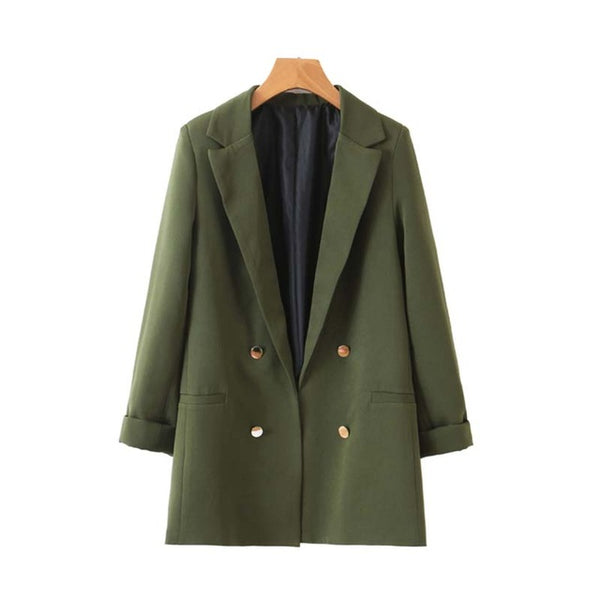 Women chic army green blazer