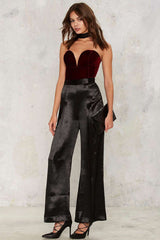 Casual Woman Sleeveless Strapless Velvet Bodysuit - buydressonline