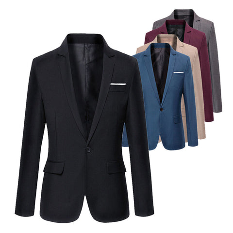 Mens Korean slim fit arrival cotton blazer Suit Jacket black blue - buydressonline