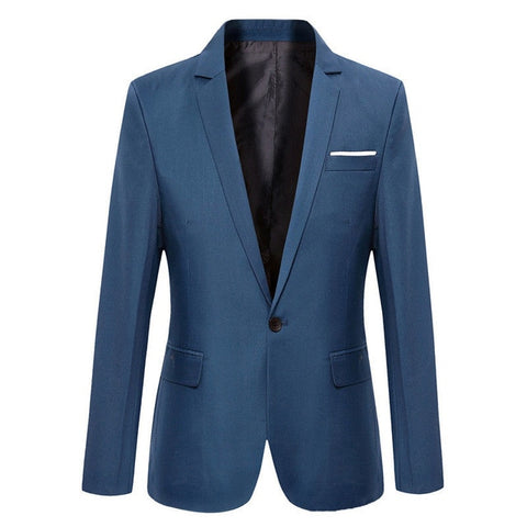 Mens Korean slim fit arrival cotton blazer Suit Jacket black blue