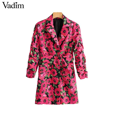 Women floral print blazer single button pockets sashes design - buydressonline