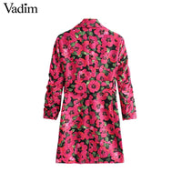 Women floral print blazer single button pockets sashes design
