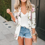 Autumn Notched Floral Female Blazer Jacket
