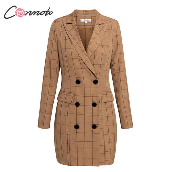 Plaid Women Blazer Dress 2019 - buydressonline
