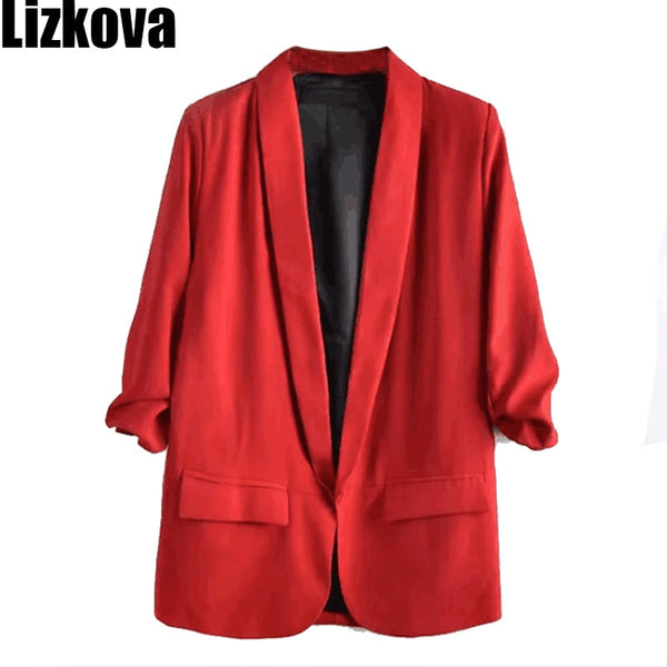 2019 Summer Three Quarter Sleeve Thin Blazer Jacket