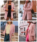 Simplee pink plaid women blazer