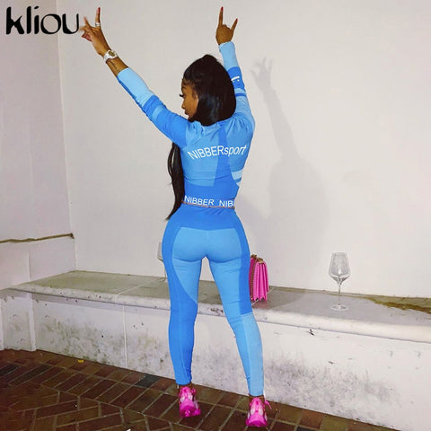 Women fitness two pieces set tracksuit long sleeve crop top letters print - buydressonline