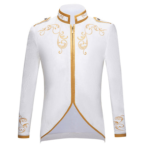 Black Velvet Gold Embroidery Blazer Wedding Groom Slim Fit Suit Jacket Singers Coat - buydressonline