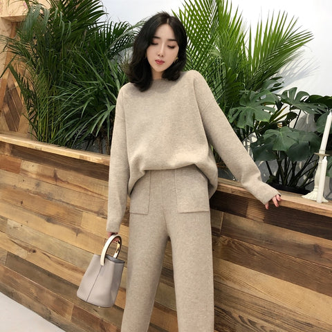 Knitted 2 pieces Set Tracksuits