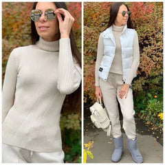 Women Knitted Tracksuit Turtleneck Sweater Casual Suit - buydressonline