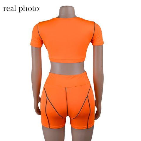 Casual Tracksuit Crop Top And Shorts Matching Set Sporty | Buy tracksuits