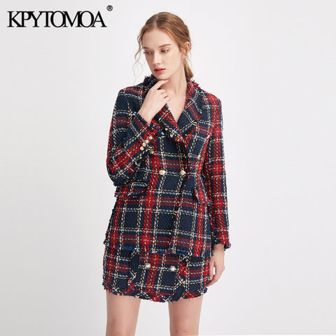 Double Breasted Frayed Checked Tweed Blazers Coat Women 2019
