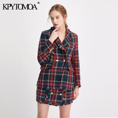 Double Breasted Frayed Checked Tweed Blazers Coat Women 2019 - buydressonline