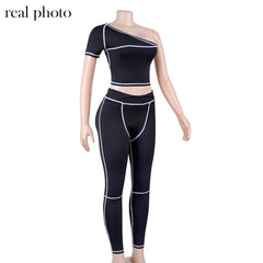 Sporty Fashion Active Wear Black Fitness Tracksuits - buydressonline