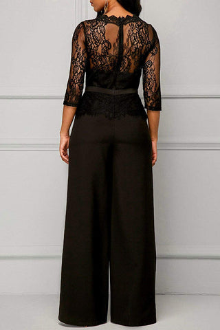 Women Long Sleeve Lace Patchwork Jumpsuit