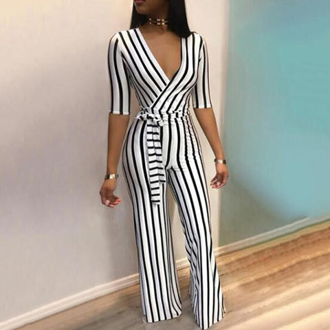 Summer Deep  Jumpsuit Women Half Sleeve Casual Rompers Overalls