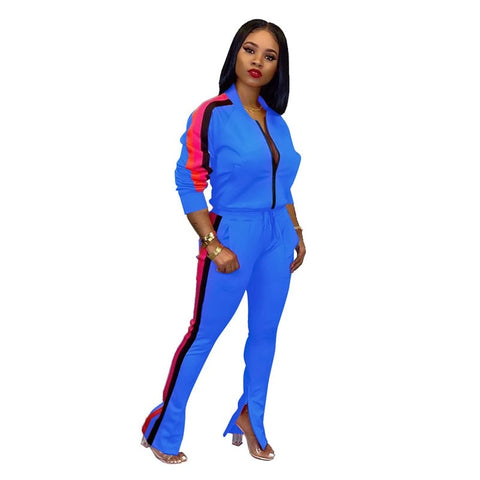 New Slim Letter Print Two Piece Set Sportswear Tracksuit