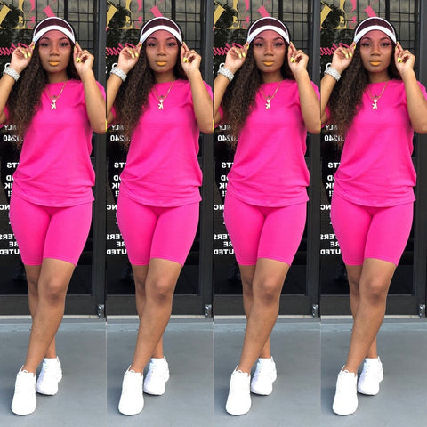 T-shirt and Tight-fitting Shorts Simple Style Tracksuit Outfit - buydressonline