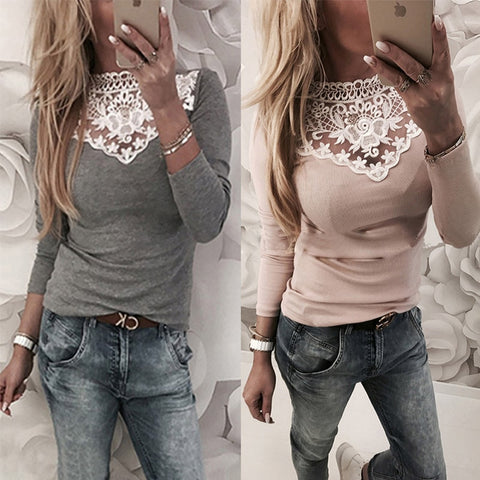 Women Lace Blouse Shirt in White Red Gray Black Tops color