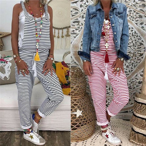Summer Outfits Women Dungarees Harem Strap Long Pant Jumpsuits