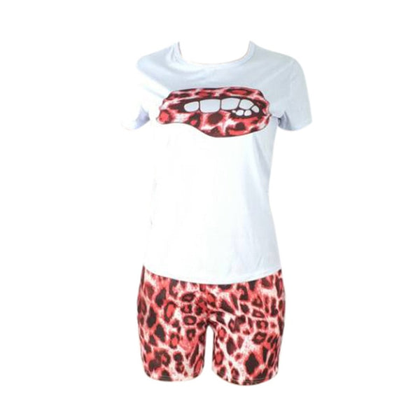 Two Piece Set Tracksuit Lips Short Sleeve Top | Buy tracksuits