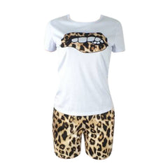 Two Piece Set Tracksuit Lips Short Sleeve Top | Buy tracksuits - buydressonline