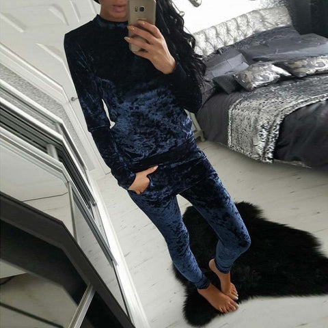 Autumn Velvet Tracksuits Women Set Winter Sweat Suits