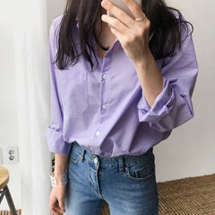 Spring Women Blouse Striped Turn-down Office Lady  Full Sleeve Women Shirts