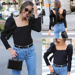 Women Summer Long  Elegance Square Neck Loose Tops Blouse