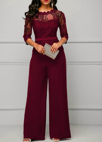 One Piece Peplum Rompers with Long Wide Leg Pant jumpsuits