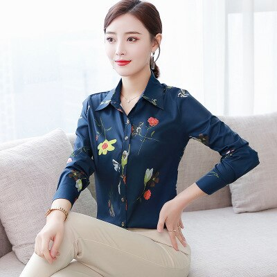 Patchwork Long Sleeve Shirts Women Blouse Autumn Lapel Office Ladies Button Casual Shirt