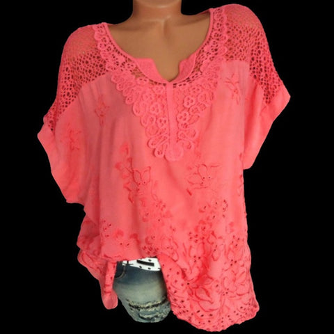 New Polka Dot Blouse Women Mesh Shirts Pink Tops Sweetheart