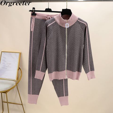 Buy New Tracksuit Woman | 2PCS Sets Long Sleeve Knit Top Trouser - buydressonline