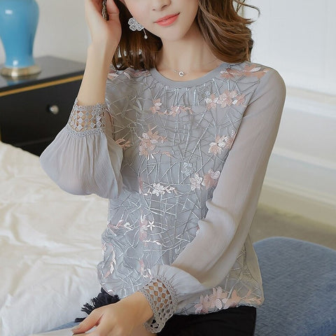 Women Long Sleeve Shirt Women New O Neck Lace and  Chiffon Blouses