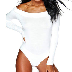 Women Off Shoulder Long Sleeve  Bodysuit