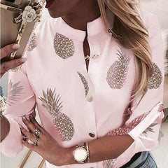 Women Adjustable Sleeve  Print Button blouse shirts