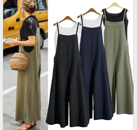 Women Casual Jumpsuit Long Loose Solid Bib Wide Leg Overalls Pants Summer Jumpsuit - buydressonline