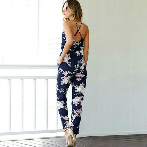 Women Feminino Sleeveless Floral Jumpsuits and Summer Playsuit - buydressonline
