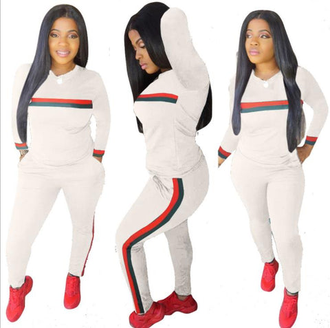 Buy Stripe Tracksuits 2 Set Piece Set Woman Tops Sweatshirt - buydressonline